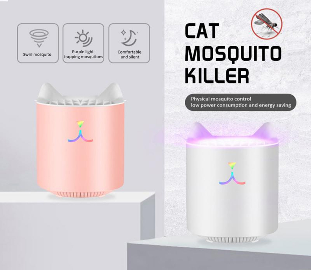 Brelong Solid Color Cute Cat Shape Mosquito Repellent Lamp Household USB Mosquitoes Killer Light - Pink