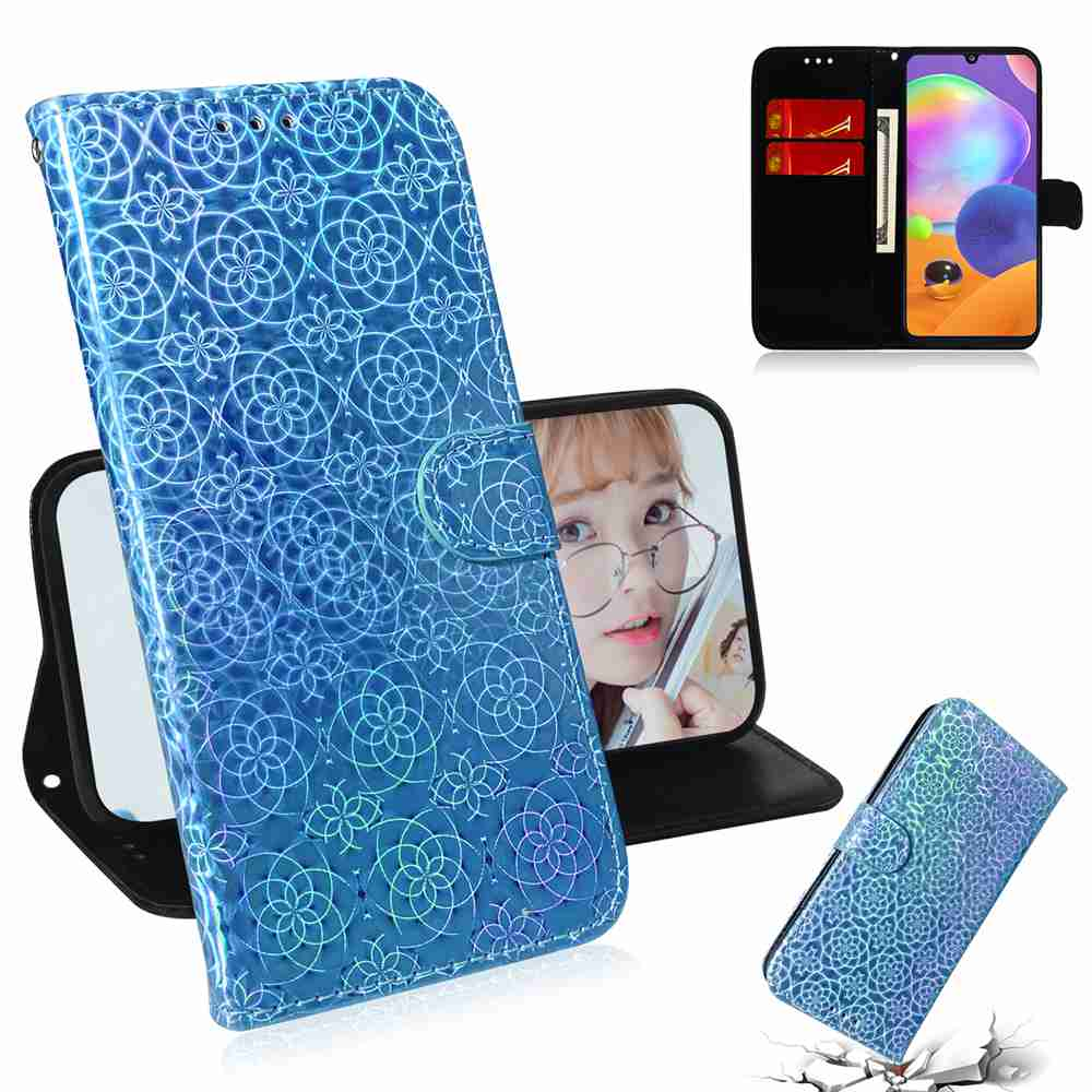 Solid Color Dazzling Phone Case for Samsung Galaxy A31 - Sky Blue