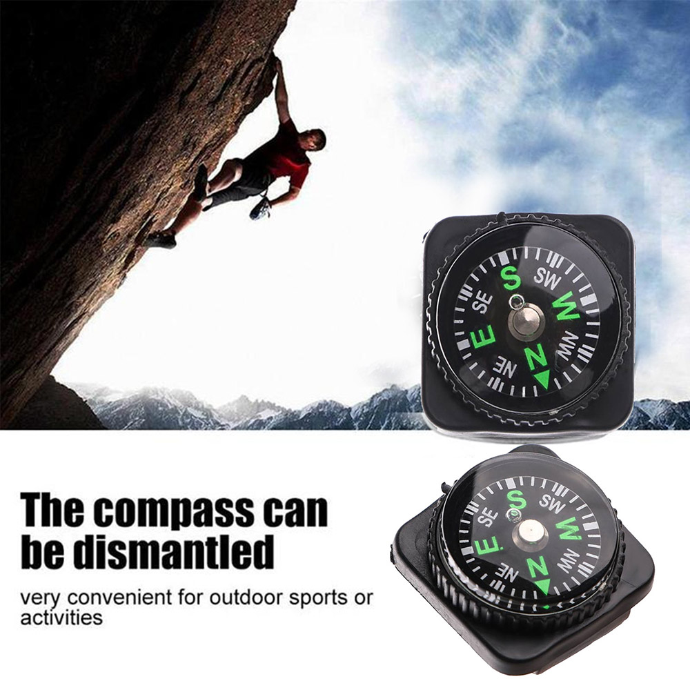 20mm Diameter Watch Wrist Woven Belt Compass for Outdoor Adventure Camping and Hiking 10PCS - Black