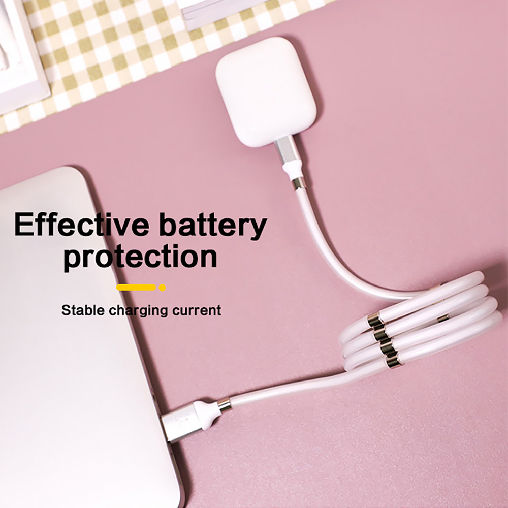 Magnetic Attraction Charging Cable Universal Data Line for Mobile Phone Tablet with 8-Pin / Micro USB / Type-C Interface - White 8-Pin