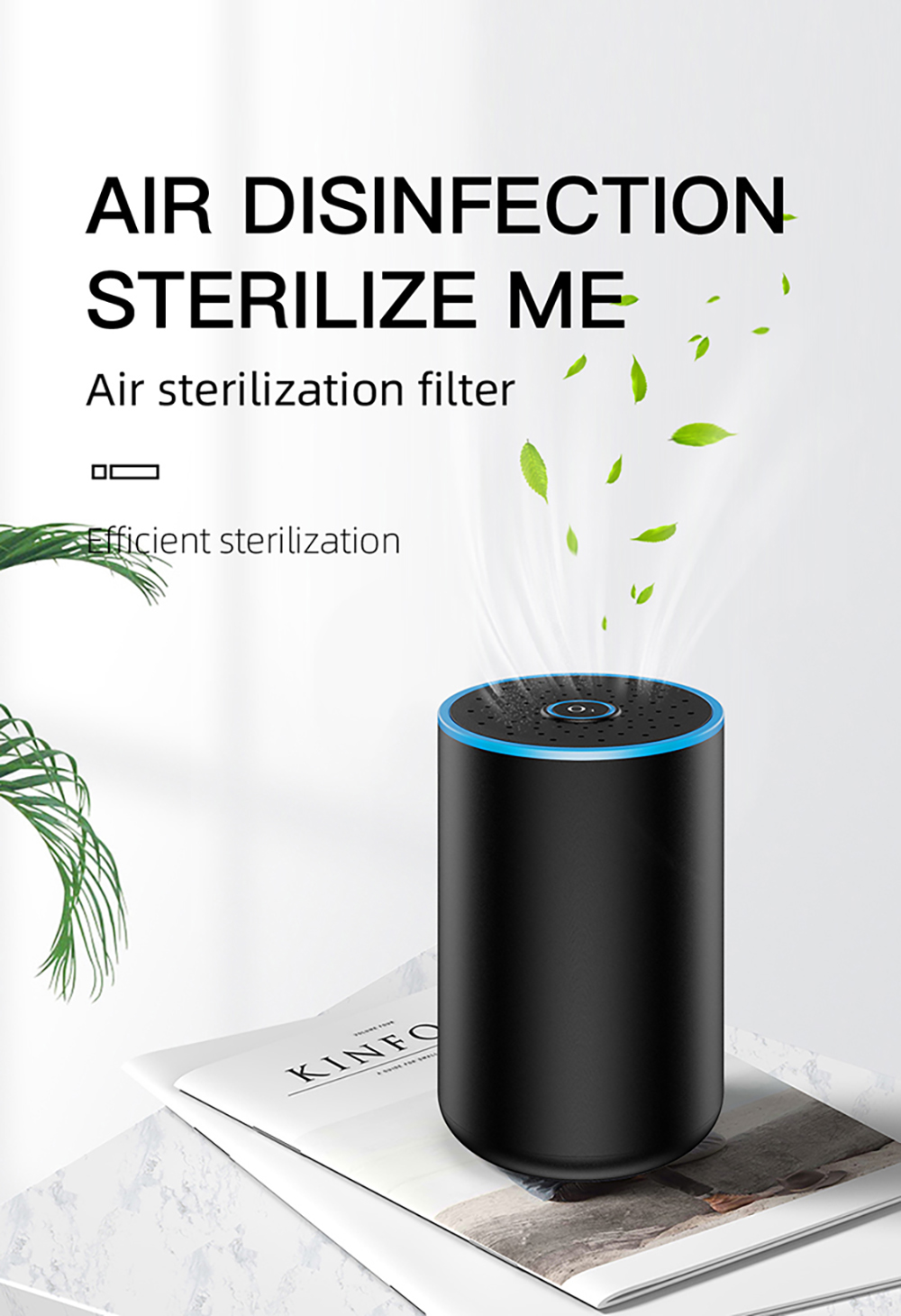 Q4 Car Air Purifier Disinfection Device Sterilization Filter for Cars and Indoor - Black