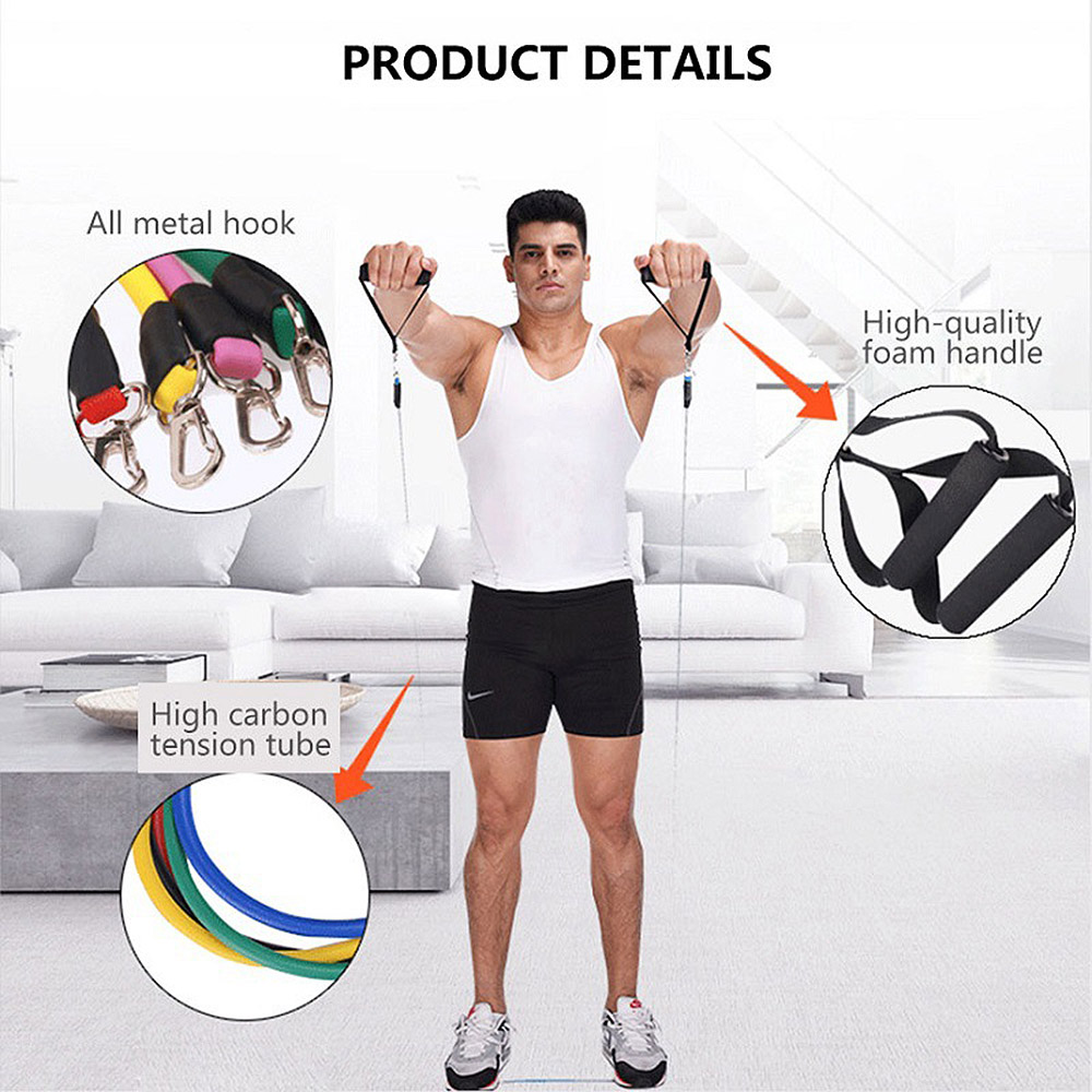 BYK-164 Resistance Bands With Handles Exercise Stretch Fitness For Home 11PCS / Set - Multi