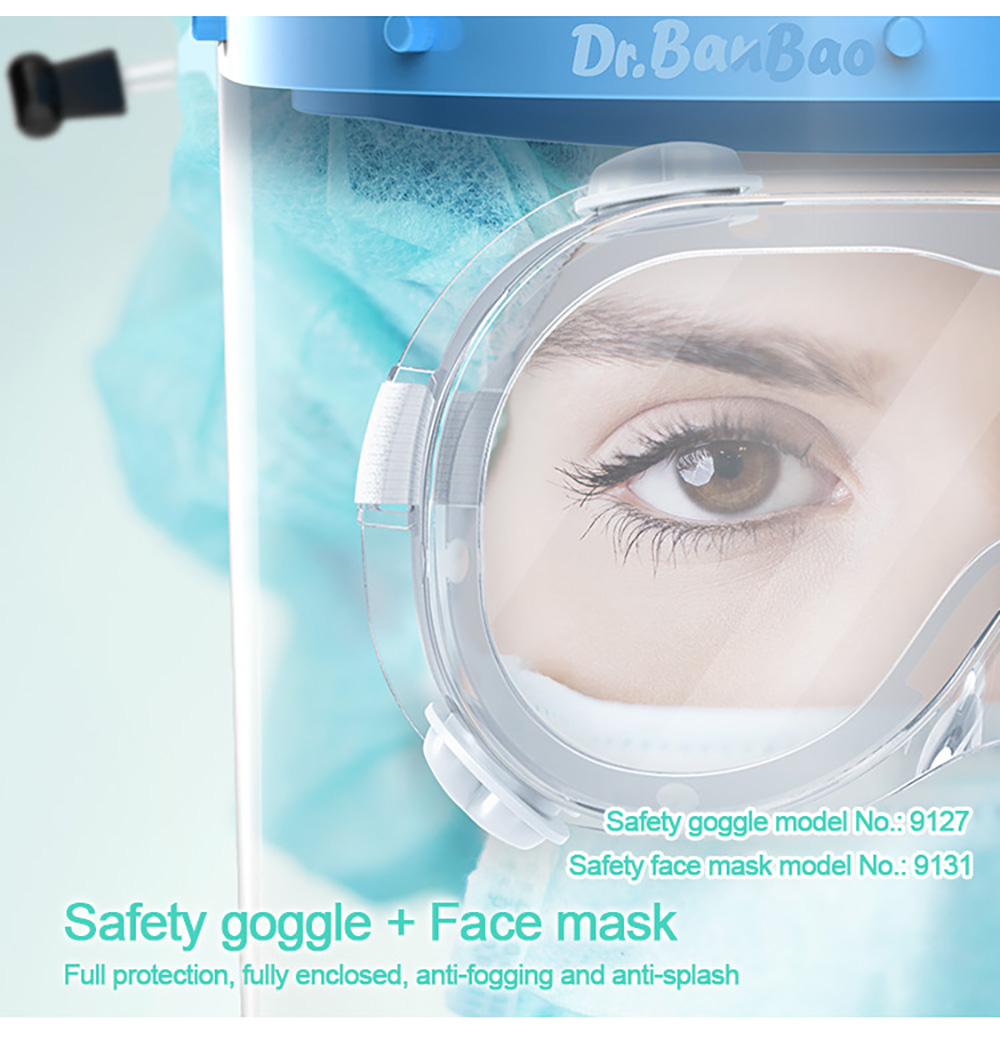9127 Medical Isolation Goggles Anti Dust Safety Glasses Eye Protection Double-sided Anti-fog Clear Lens Upgrade Version - Transparent