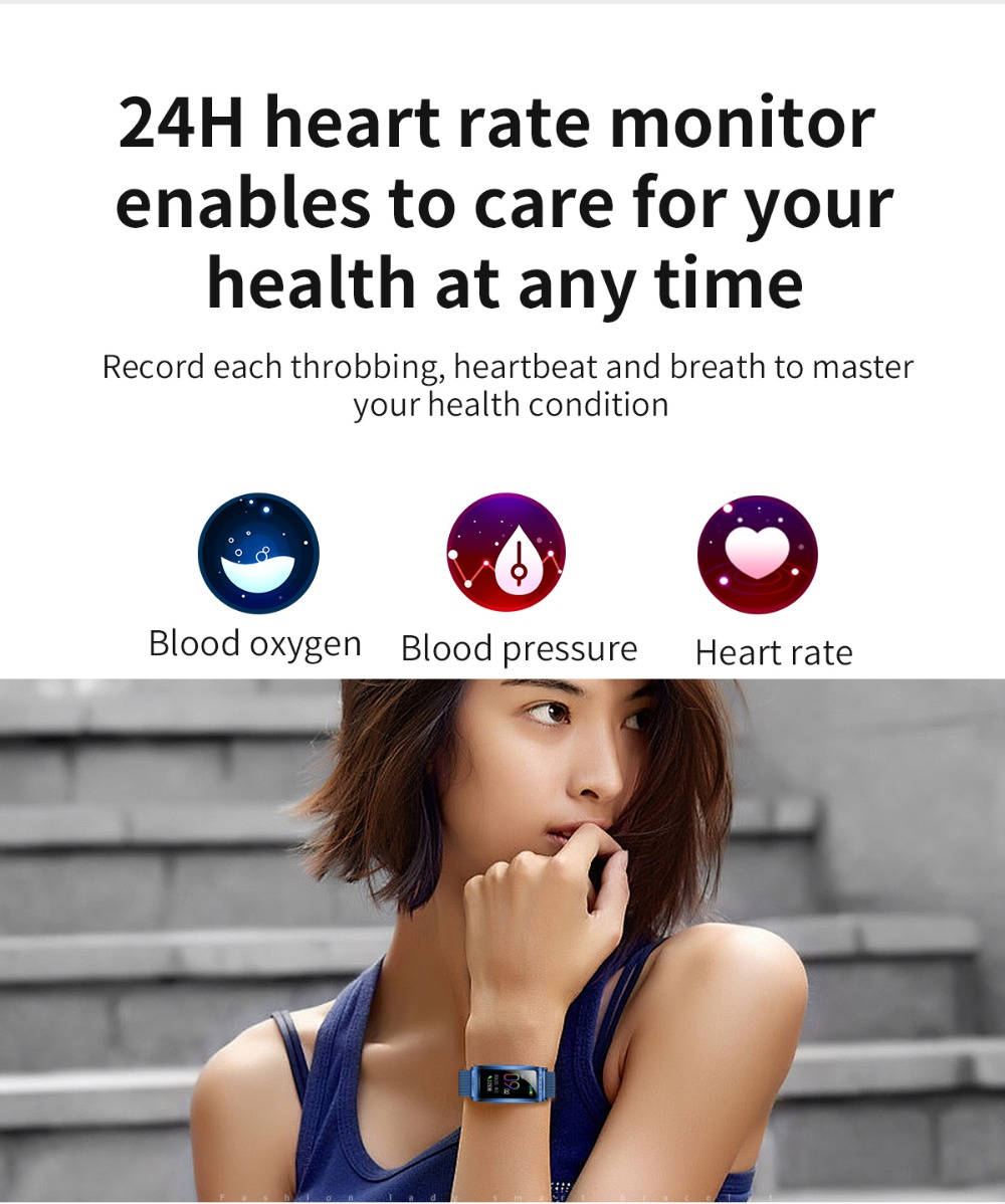 F28 Smart Bracelet Wristband 24H heart rate monitor enables to care for your health at any time