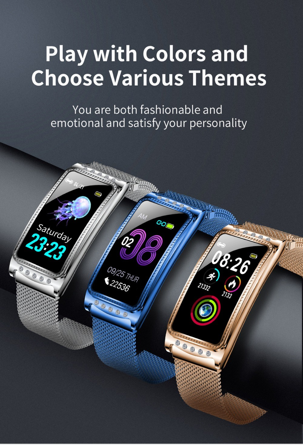 F28 Smart Bracelet Wristband Play with Colors and Choose Various Themes