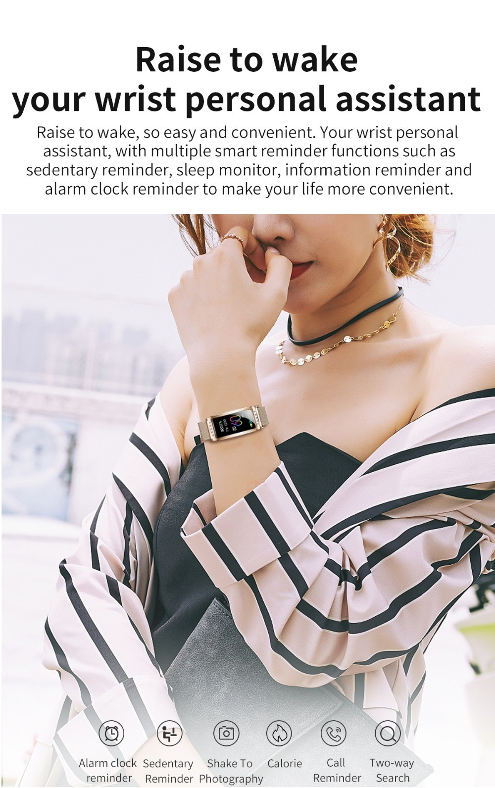 F28 Smart Bracelet Wristband Raise to wake your wrist personal assistant