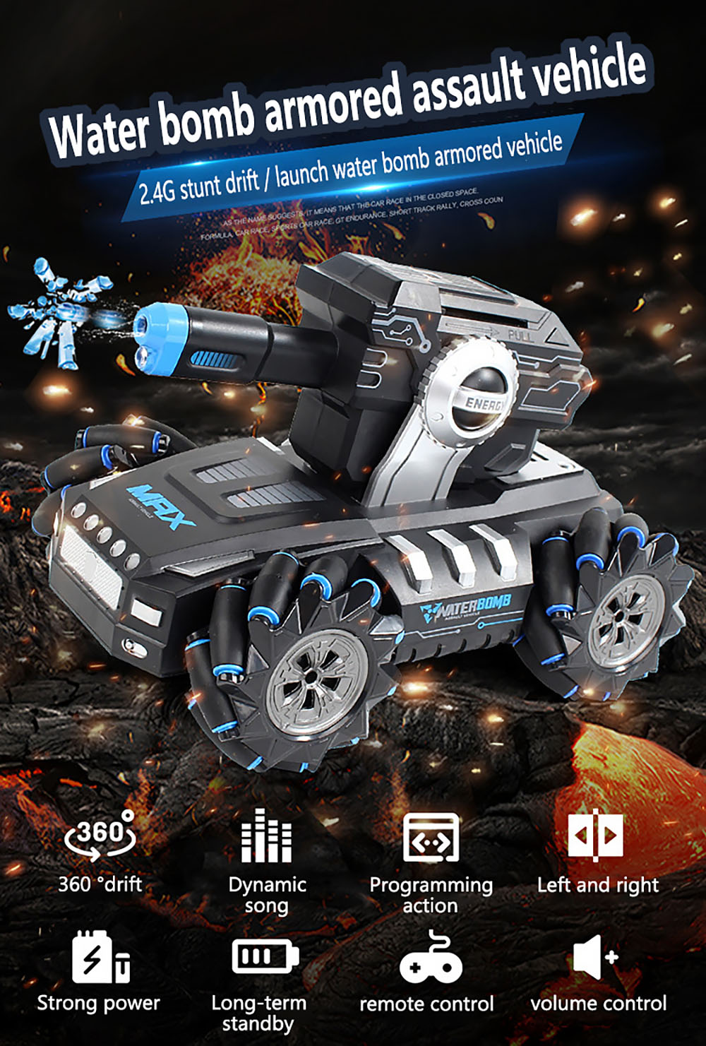 G1 Multi-Function 2.4GHz Wireless Remote Control Water Bomb Stunt Car RC Drift Tank Vehicle Toy - Orange One-handed Controller