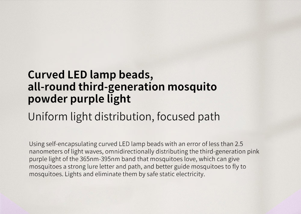 Y8RK Portable Physical Shock Insect Killers Curved LED lamp beads, all-round third-generation mosquito powder purple light
