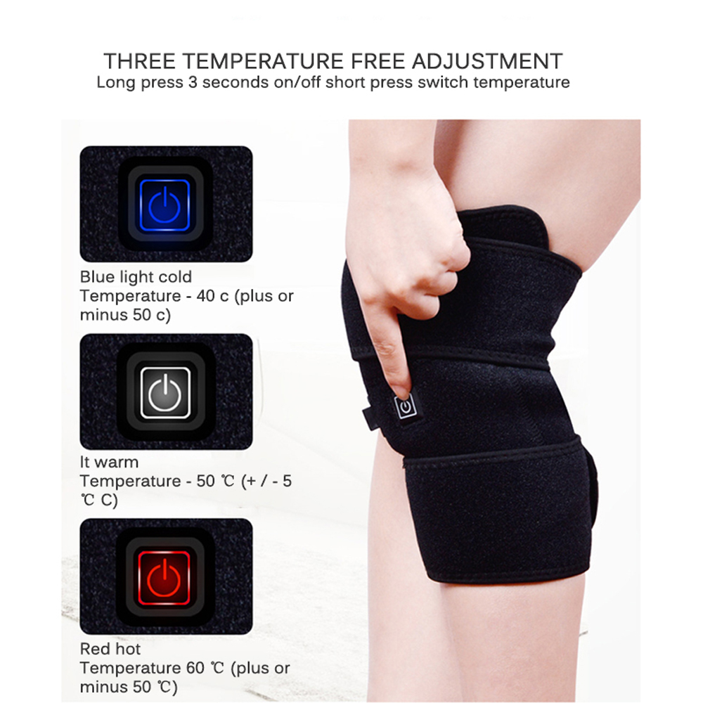 Heating Knee Pad Magnet Infrared Support Massager Injury Arthritis Recovery - Jet Black