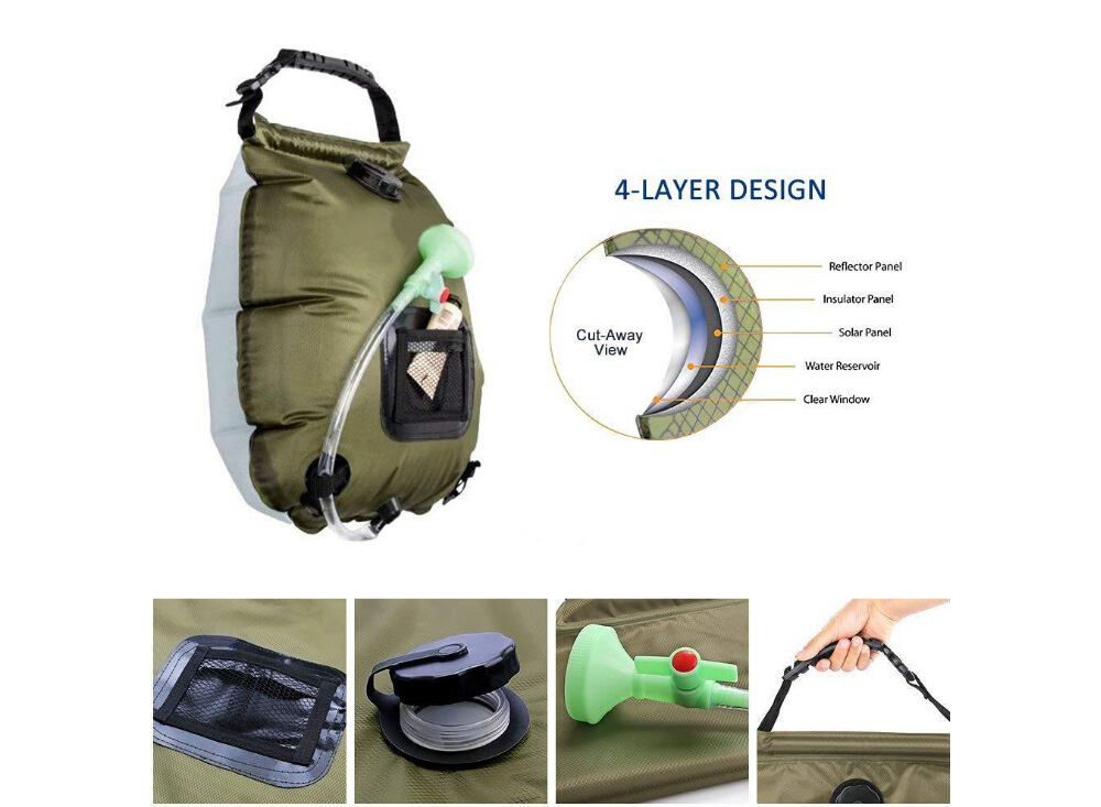 Outdoor Solar Heating Shower Bag Bath Water Storage Pack with Removable Hose and On-Off Switchable Head for Traveling Camping Hiking 20L - Army Green