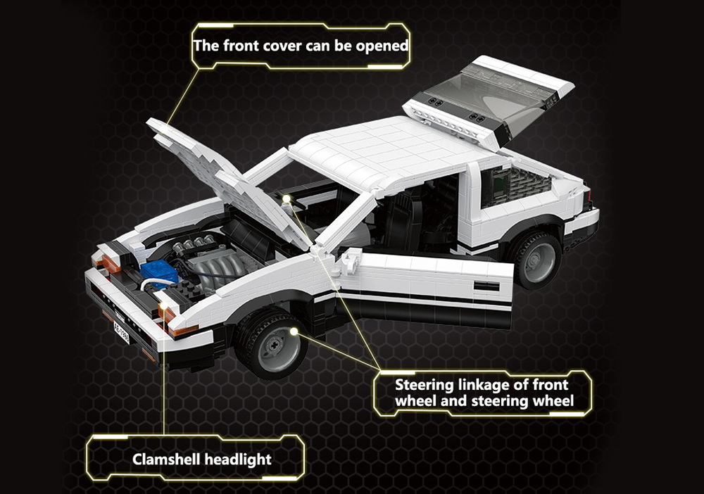 YC-QC003 DIY Puzzle Assembled 1:10 AE86 Car Toy Building Blocks Static Version 1550PCS - Multi
