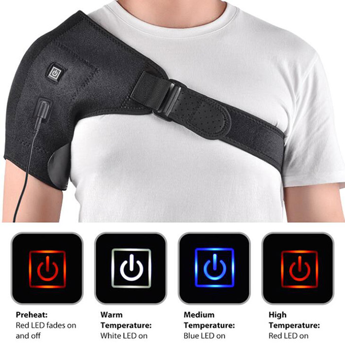 SYJF 173 Electric Shoulder Support Shoulders Heating Pad with Adjustable Strap for Men and Women - Black USB
