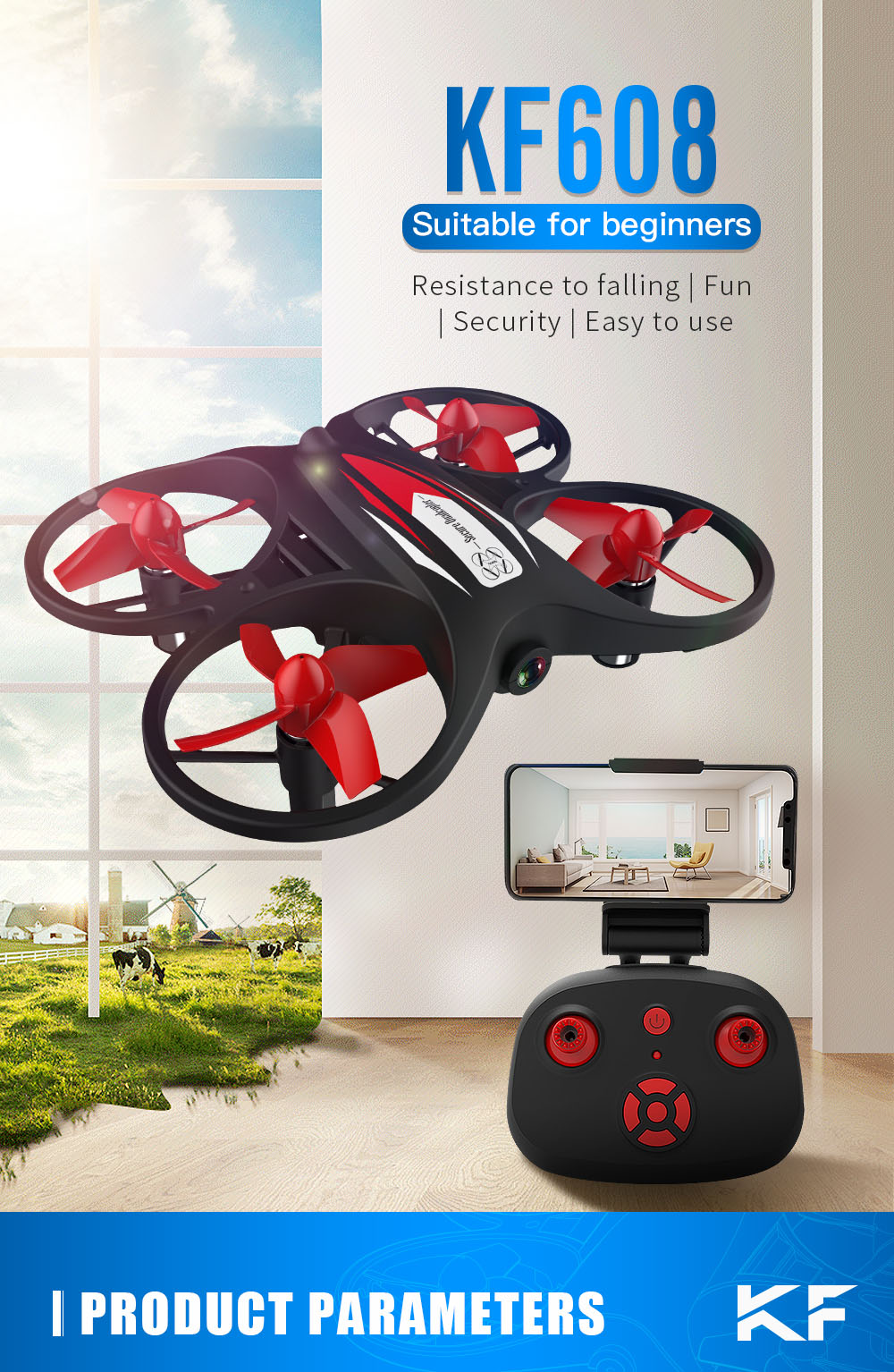 KF608 2.4GHz Wireless Remote Control Mini RC Quadcopter Drone Toy - Black No Camera With 1 Battery