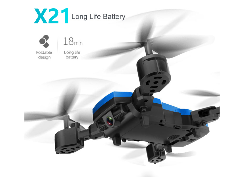 X21A / X21B 2.4GHz Wireless Remote Control 4-Channels Fixed Height Folding RC Quadcopter Flight Time 18-20 Minutes - Blue No camera