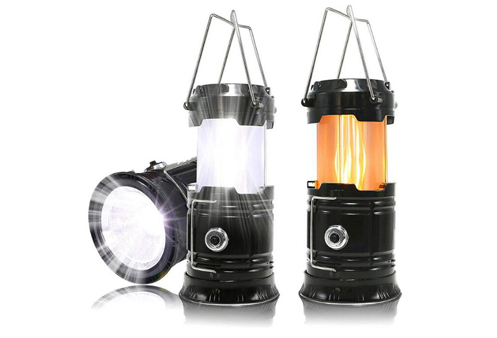 Solar Rechargeable Camping Light USB Outdoor Light Multifunction Tent Lamp - Golden