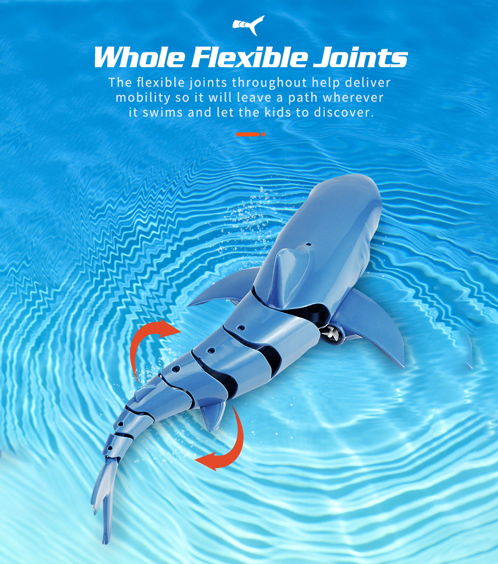 JJRC S10 2.4G Remote Control Simulation Shark Modeling Waterproof RC Boat Toy - Blue Gray