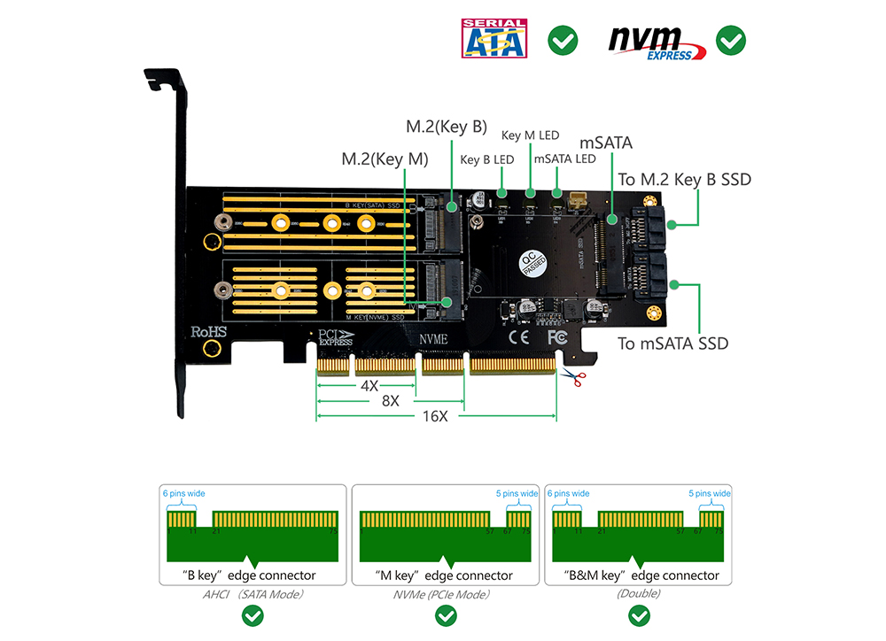 3-in-1 Msata and M.2 SSD to PCI-E 4X and SATA3 Adapter with Heatsink - Black
