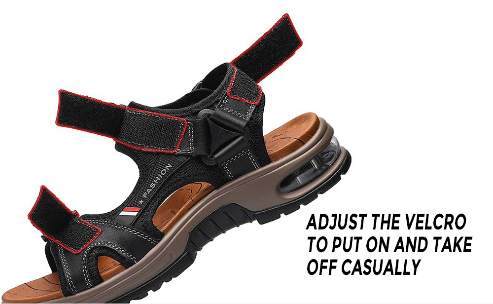 SENBAO 2026 Cowhide Cushion Sandals Adjust the Velcro to put on and take off casually