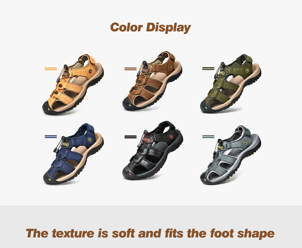 SENBAO Men Leather Sandals color display