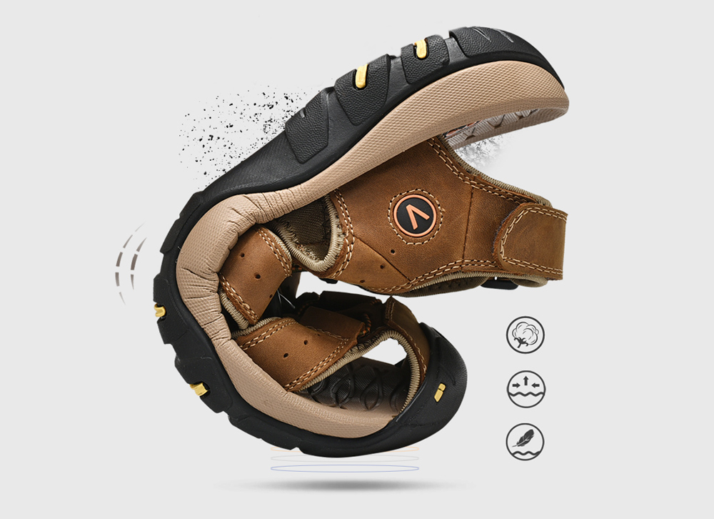 SENBAO Men Leather Sandals The texture is soft and fits the foot shape