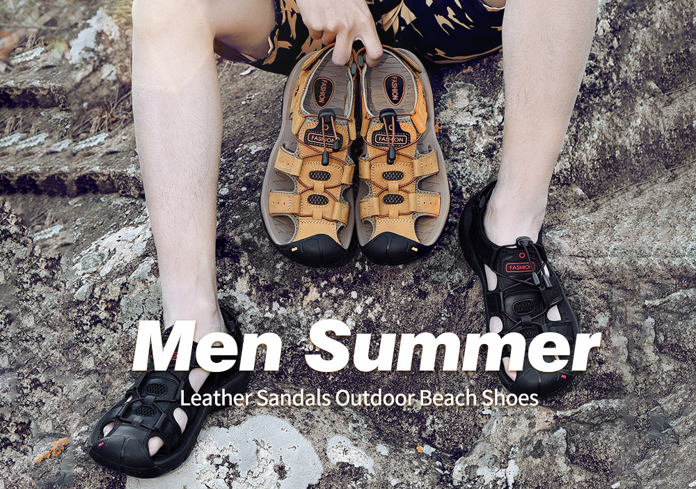 SENBAO Men Leather Sandals