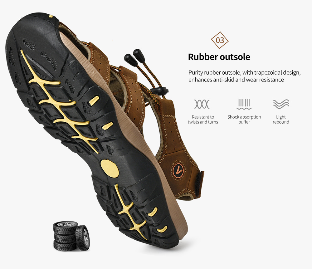 SENBAO Men Leather Sandals Rubber outsole