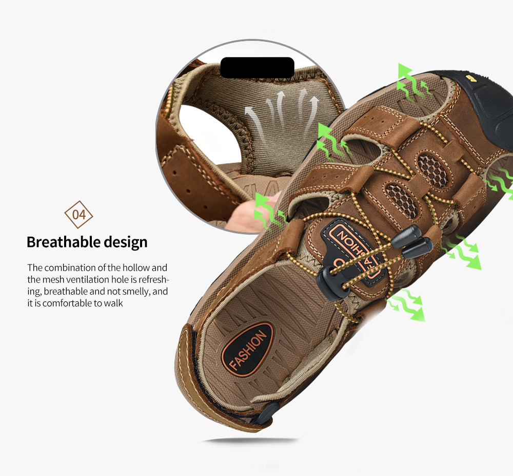 SENBAO Men Leather Sandals Breathable design