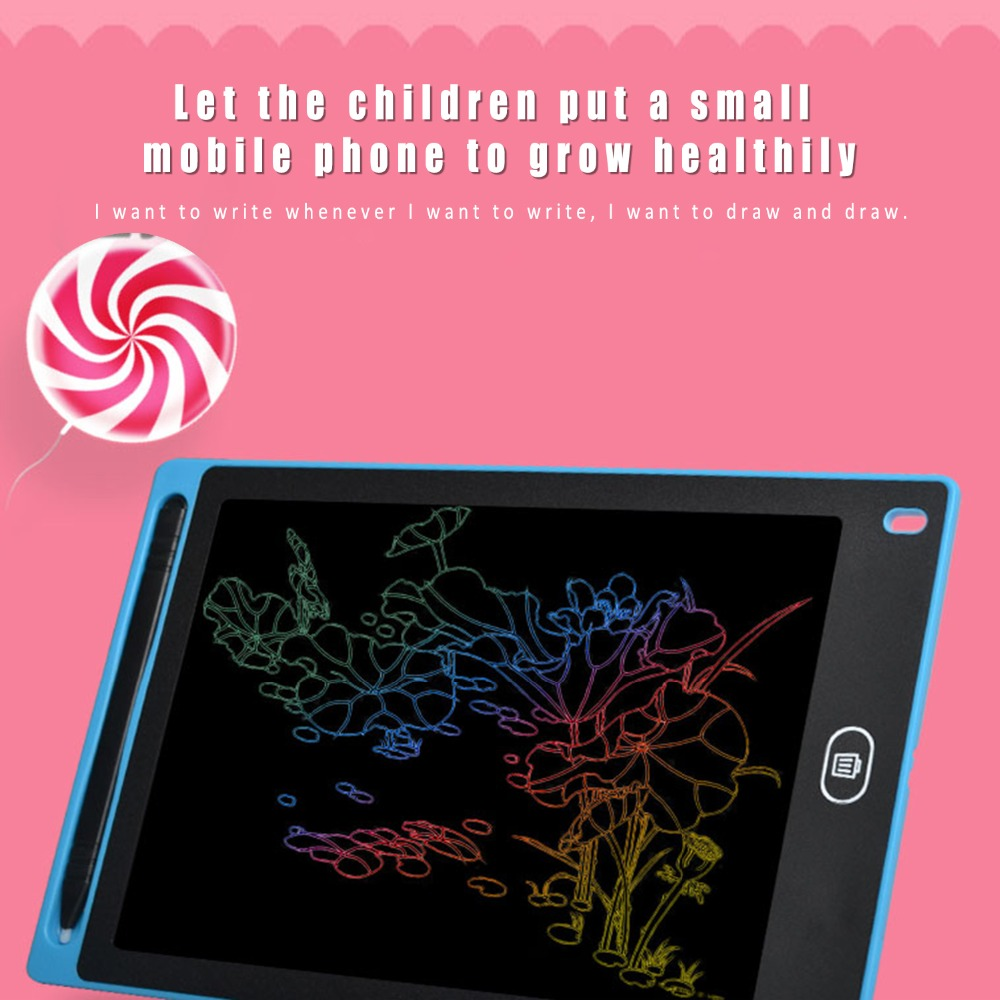 Oureong LCD Writing Tablet 15 Inches Handwriting Board Graffiti Smart LCD Electronic Drawing Board Children Light Energy Blackboard for Kids Home School Office Color : Blue B, Size : 15 inches