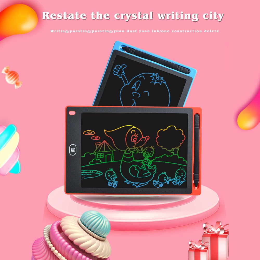 Smart Electronic Blackboard Handwritten Version Graffiti Board Red Sketchpad 8haowenju LCD Tablet Blue Color : Blue Tablet