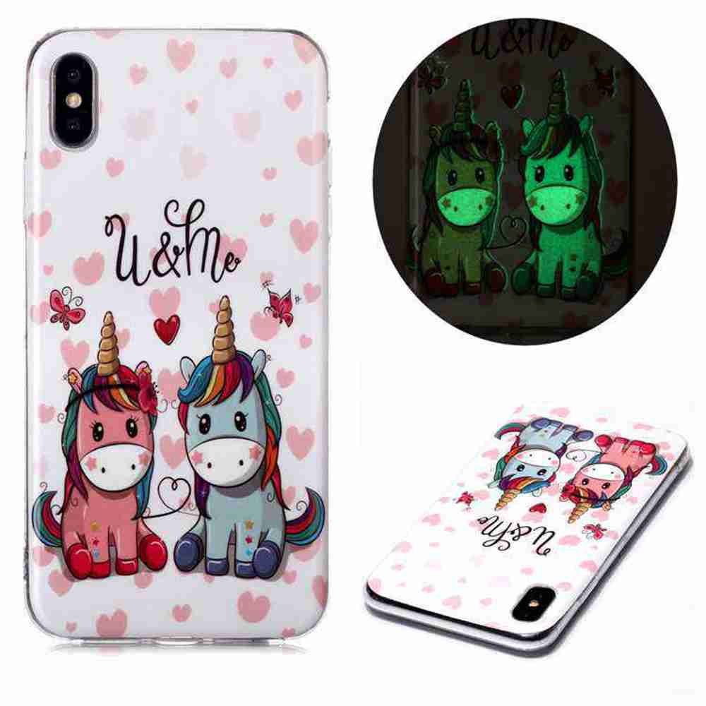Luminous Painted Upscale TPU Phone Case for iPhone Xs / Max - Multi-D