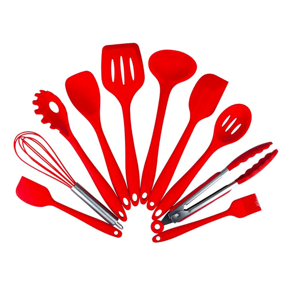 Kitchen Tools Utensils Set Silicone Non-Stick Cooking Tools 10 Pieces - Red