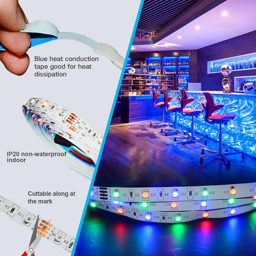 YX-30 3528 Red Green Blue RGB 10M 600 Lamps IP20 Smart Strip Light 44 Key Infrared Controller Adapter - White EU Plug
