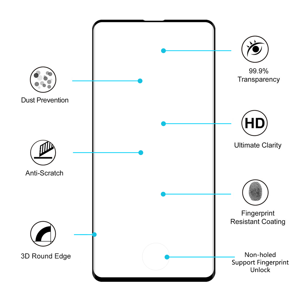 ENKAY 0.26mm 9H 2.5D 3D Curved Full-screen Tempered Glass Screen Protector for Samsung Galaxy S10 - Transparent