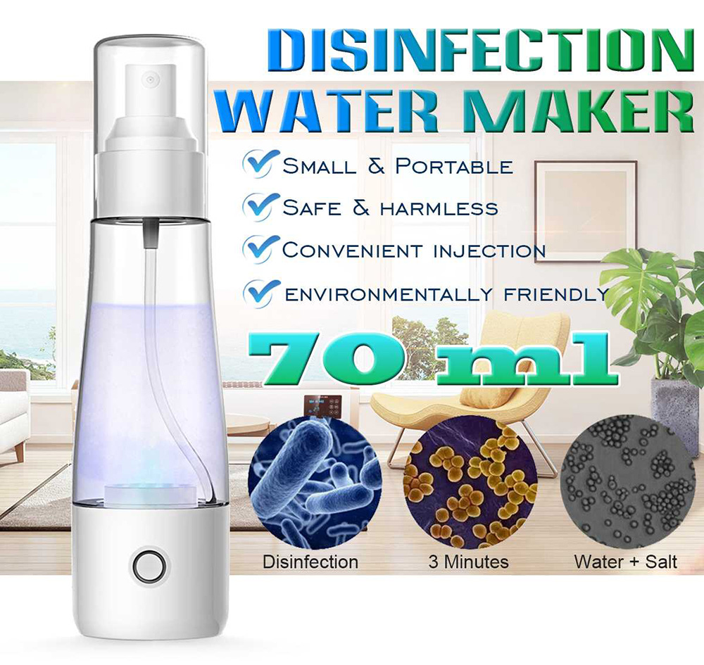 84 Disinfection Water Electrolytic Generator Sodium Hypochlorite Generator Disinfectant Liquid Making Machine Clean Air Spray 70ML - White
