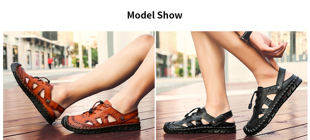 IZZUMI Men Sandals Summer Outdoor Casual Round Toe Slippers model show