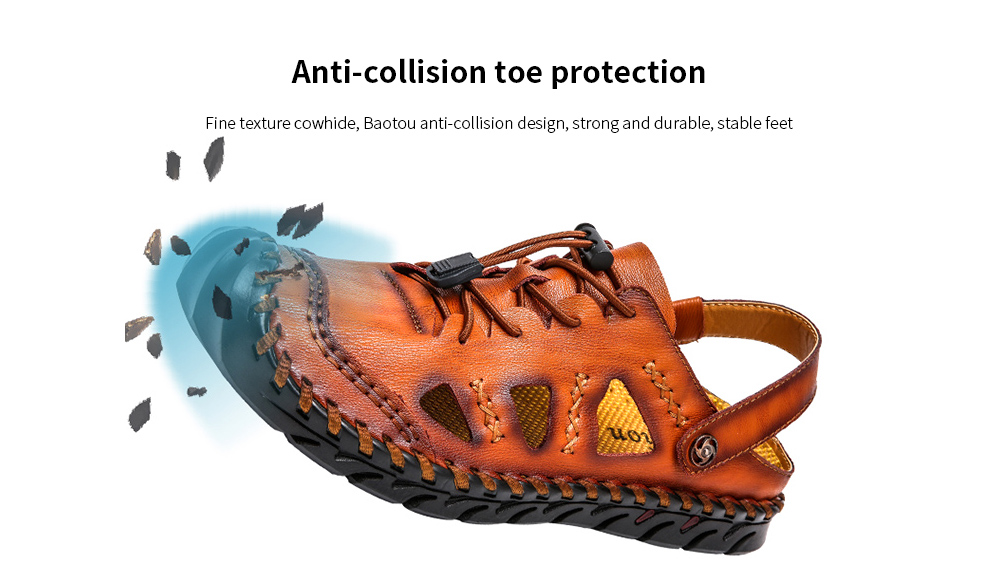 IZZUMI Men Sandals Summer Outdoor Casual Round Toe Slippers Anti-collision toe protection