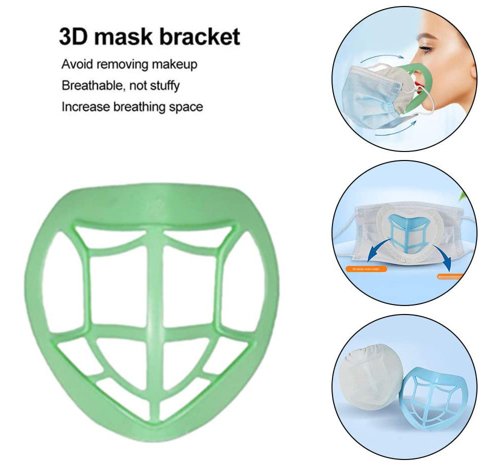 3D Face Mask Inner Pad Bracket Holder Safe and Dustproof Non-stain Lipstick - Green 3pcs