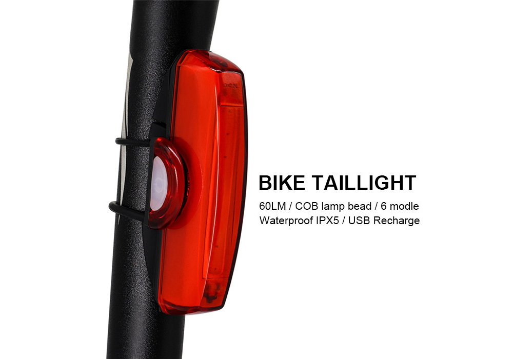 HJ-032 Bicycle Taillight Light Warning Lamp USB Charging Outdoor Mountain Bike Riding Night Taillight - Red