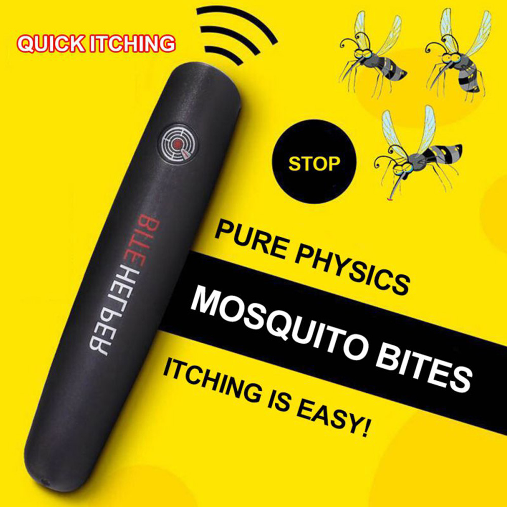 Mosquito Itch Reliever Bite Helper Household Itching Relief Pen for Child Adult Face Body - Black