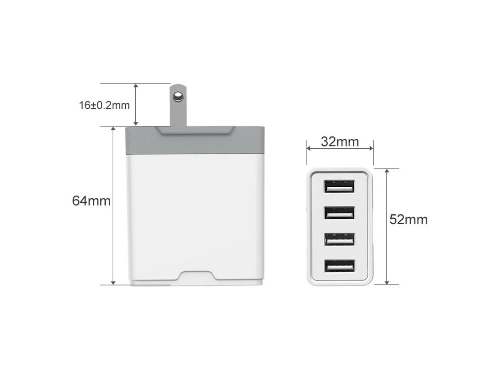 4 USB 5V4.8A Charger Charging Head 4 Ports Travel Charger 24W - White UK Plug