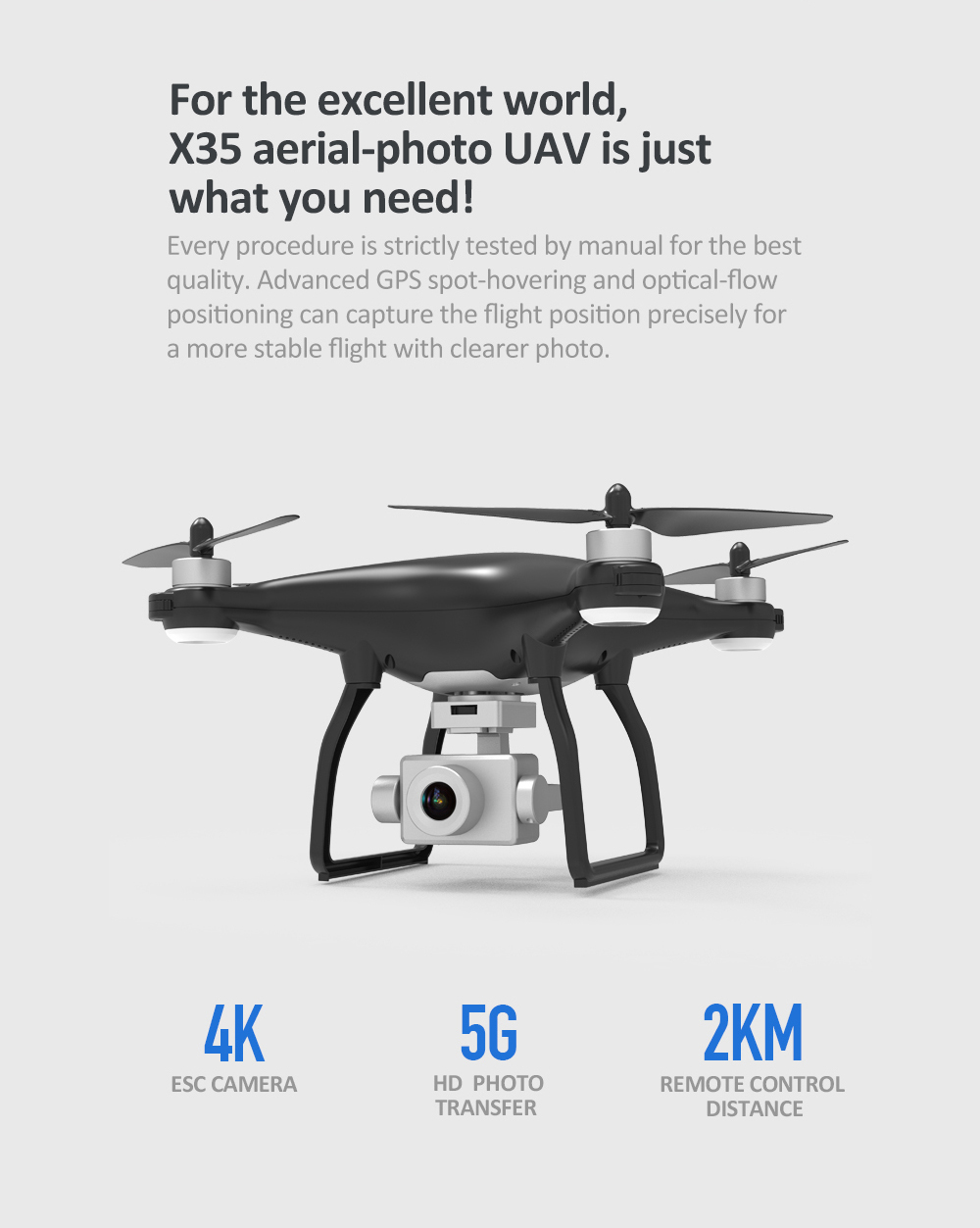 X35 1KM 5G Wifi GPS With 3-Axis Gimbal 4K HD Camera Brushless RC Quadcopter RTF - Black 1 Battery with Servo