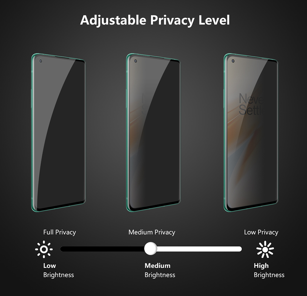 ENKAY 0.26mm 9H 3D Curved Full-screen Advanced Privacy Filter Cover Glass Protective Film for OnePlus 8 Pro / 8 Plus - Black for OnePlus 8