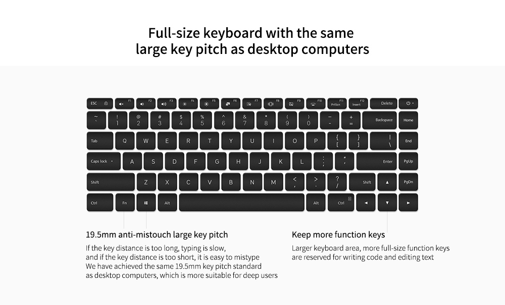 Xiaomi Mi Notebook Pro 15 Full-size keyboard with the same large key pitch as desktop computers