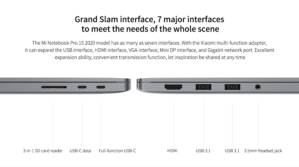 Xiaomi Mi Notebook Pro 15 Grand Slam interface,  7 major interfaces to meet the needs of the whole scene
