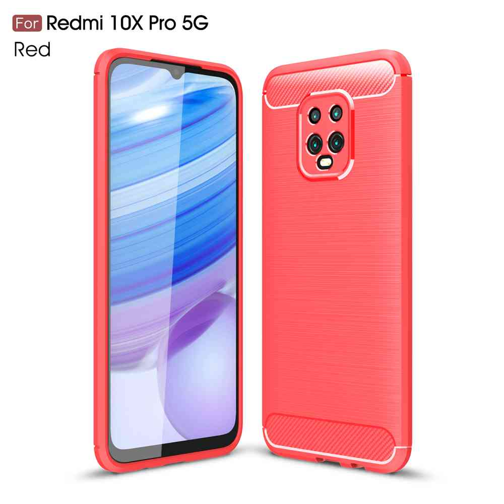 Brushed Carbon Fiber Phone Case for Xiaomi Redmi 10X Pro 5G - Rosso Red