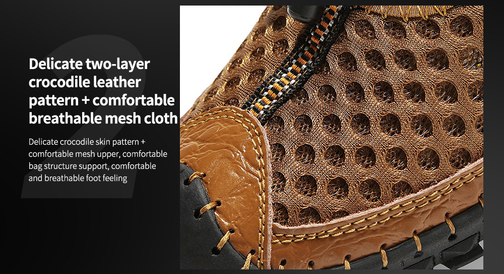 SENBAO Men Shoes Delicate two-layer crocodile leather pattern + comfortable breathable mesh cloth