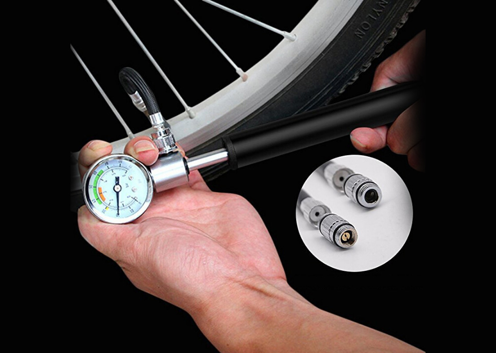 Mini Bicycle Pump With Pressure Gauge 210 PSI Portable Hand Cycling Pump Presta and Schrader Ball Road MTB Tire Bike Pump - Black