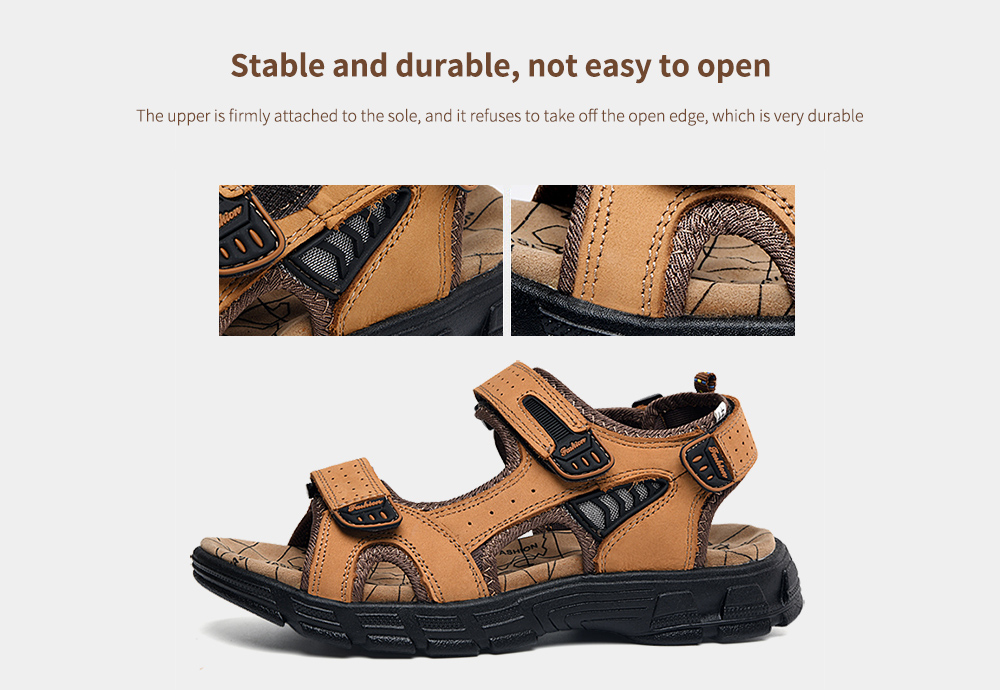 SENBAO Men Leather Sandals Stable and durable, not easy to open