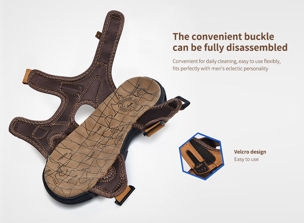SENBAO Men Leather Sandals The convenient buckle can be fully disassembled