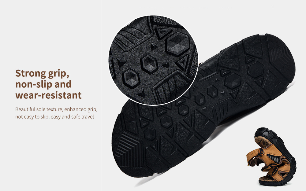 SENBAO Men Leather Sandals Strong grip, non-slip and wear-resistant